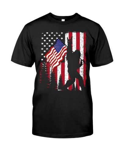 Bigfoot With American Flag