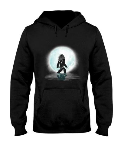 Bigfoot american native under the moon