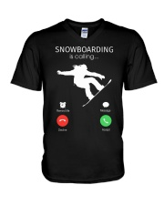Snowbroading is calling V-Neck T-Shirt thumbnail