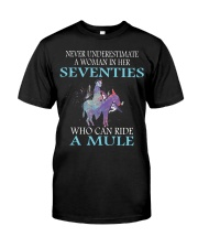 Never Underestimate Woman Mule Seventies PT Classic T-Shirt thumbnail
