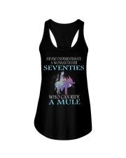 Never Underestimate Woman Mule Seventies PT Ladies Flowy Tank thumbnail