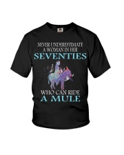 Never Underestimate Woman Mule Seventies PT Youth T-Shirt thumbnail