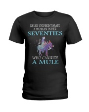 Never Underestimate Woman Mule Seventies PT Ladies T-Shirt thumbnail