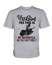 Yes I'm a Girl This is my Motorcycle 9997 V-Neck T-Shirt thumbnail