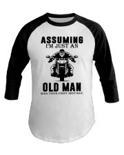 motorcycle old man Baseball Tee thumbnail