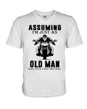 motorcycle old man V-Neck T-Shirt thumbnail