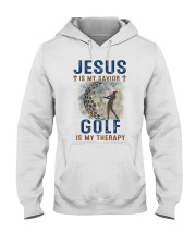 Jesus is my savior - Golf is my therapy - woman Hooded Sweatshirt front