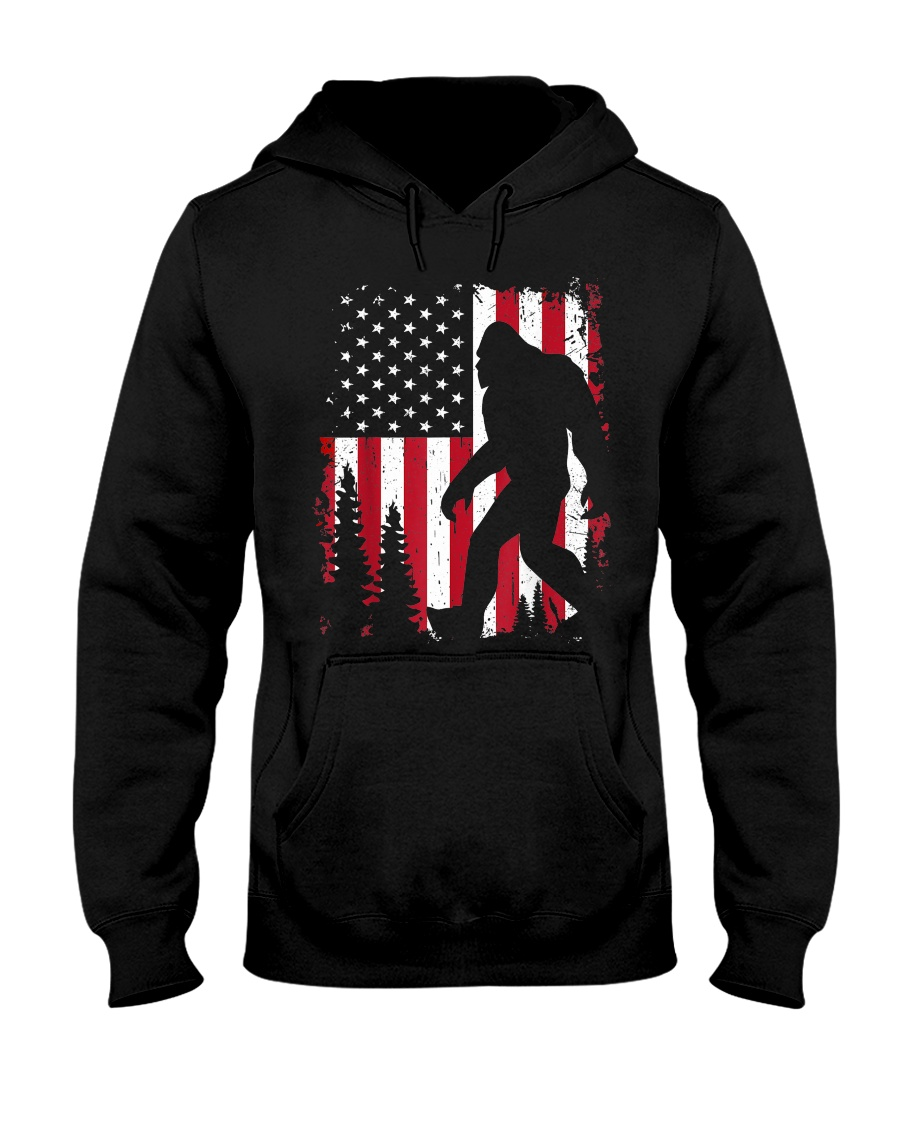 Bigfoot  American USA Flag Hooded Sweatshirt