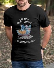 Stitch I'm Not Antisocial I'm Anti Stupid Shirt Classic T-Shirt apparel-classic-tshirt-lifestyle-front-52