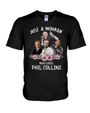 Just A Woman Who Loves Phil Collins Shirt V-Neck T-Shirt thumbnail