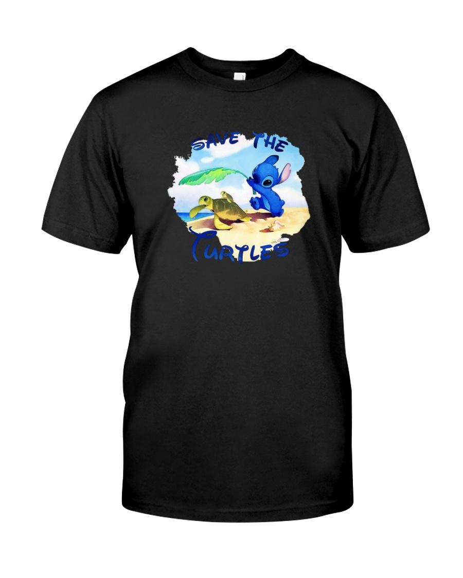 Stitch Save The Turtles Shirt Classic T-Shirt
