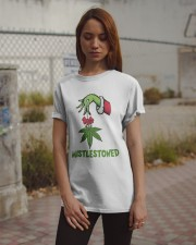 Grinch Hand Holding Weed Mistlestoned Shirt Classic T-Shirt apparel-classic-tshirt-lifestyle-18
