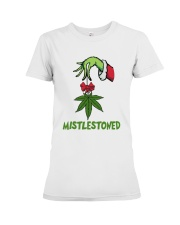 Grinch Hand Holding Weed Mistlestoned Shirt Premium Fit Ladies Tee thumbnail