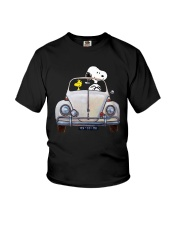 Snoopy And Woodstock Driving Volkswagen Shirt Youth T-Shirt thumbnail