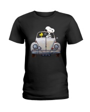 Snoopy And Woodstock Driving Volkswagen Shirt Ladies T-Shirt thumbnail