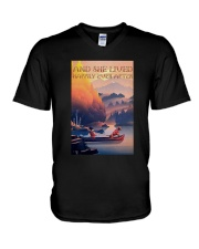 Kayak Dogs And She Lived Happily Ever After Shirt V-Neck T-Shirt thumbnail