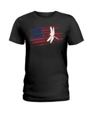 Dragonfly US American Flag Swar Ladies T-Shirt thumbnail