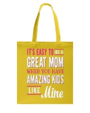 Great Mom Amazing Kids Mothers Day Gift Tote Bag front