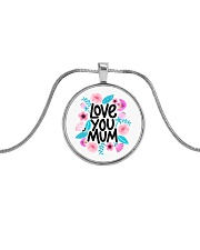 love you mum mother gift Metallic Circle Necklace tile