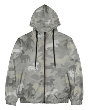 Camo Dachshund Men's All Over Print Full Zip Hoodie thumbnail