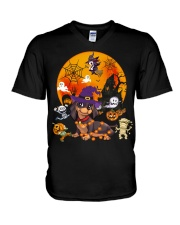 Dachshund - Halloween V-Neck T-Shirt thumbnail