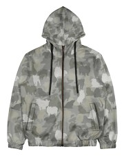 Camo Pomeranian Men's All Over Print Full Zip Hoodie thumbnail