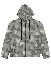 Camo Pomeranian Women's All Over Print Full Zip Hoodie thumbnail