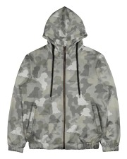 Camo Bichon Frise Men's All Over Print Full Zip Hoodie thumbnail