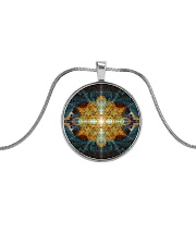 Mandala Metallic Circle Necklace front