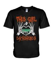 Dachshund - This girl loves Dachshunds V-Neck T-Shirt thumbnail