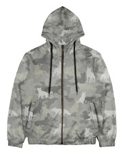 Camo German Shepherd-camouflage Square Pillowcase Men's All Over Print Full Zip Hoodie thumbnail
