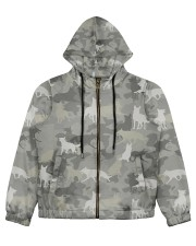 Camo German Shepherd-camouflage Square Pillowcase Women's All Over Print Full Zip Hoodie thumbnail
