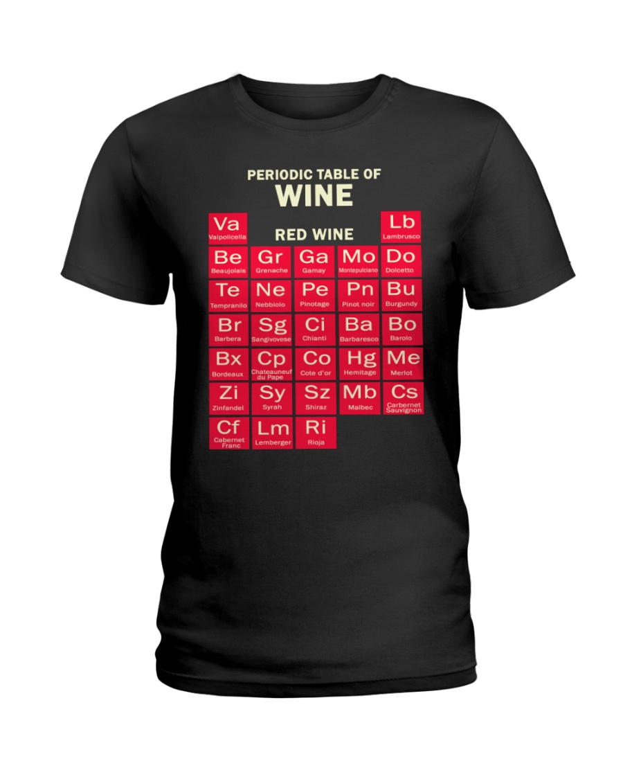Periodic Table Red Wine Ladies T-Shirt