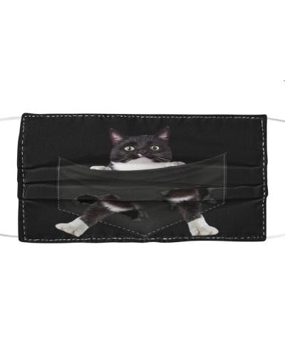 Tuxedo Cat-Face Mask-Pocket