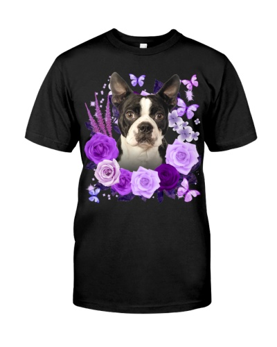 Boston Terrier-Purple Flower