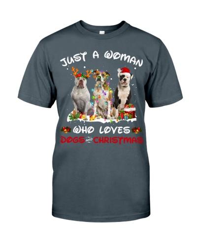 American Bulldog-Woman-Christmas