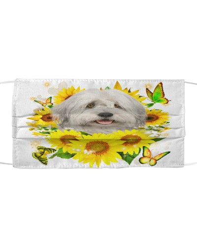 Old English Sheepdog-Face Mask-Sunflower