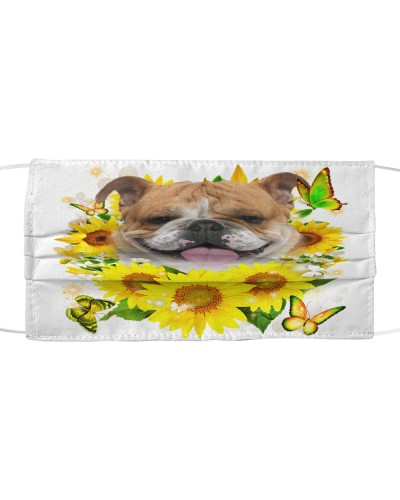 English Bulldog-Face Mask-Sunflower