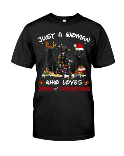 Black Labrador-Woman-Christmas