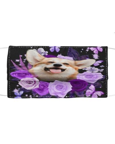 Corgi-Face Mask-Purple