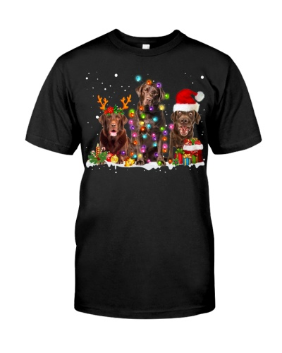 Chocolate Labrador-Snow-Christmas