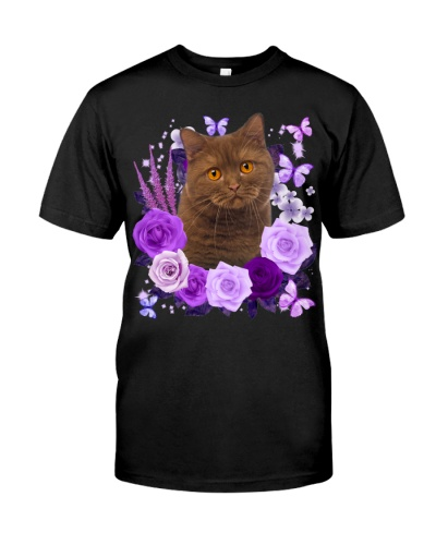 British Shorthair Cat-04-Purple Flower