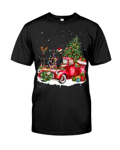 Doberman Pinscher-Christmas Car
