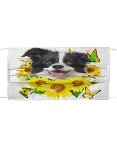 Border Collie-Face Mask-Sunflower