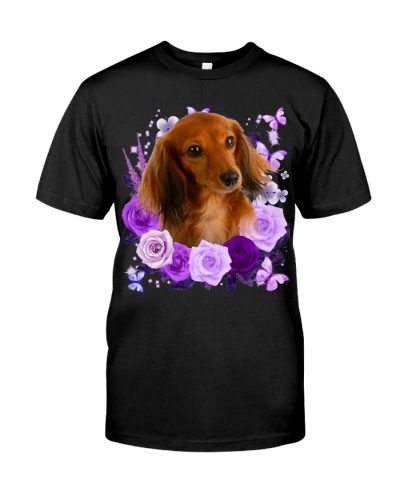 Dachshund-03-Purple Flower