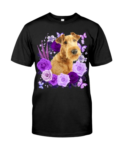 Irish Terrier-Purple Flower