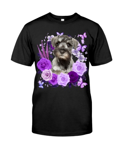 Miniature Schnauzer-Purple Flower