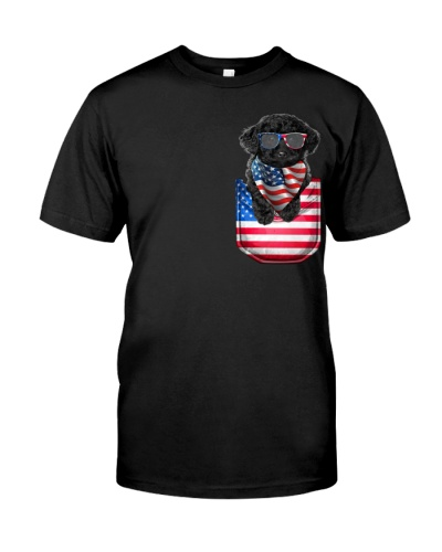 Black Toy Poodle-Flag Pocket