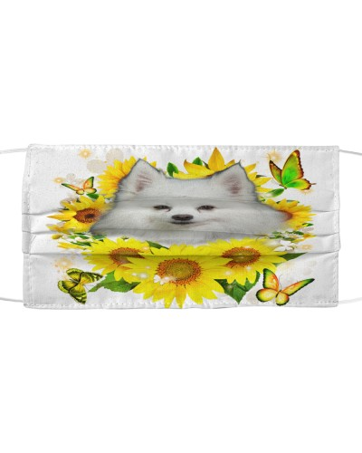 American Eskimo-Face Mask-Sunflower