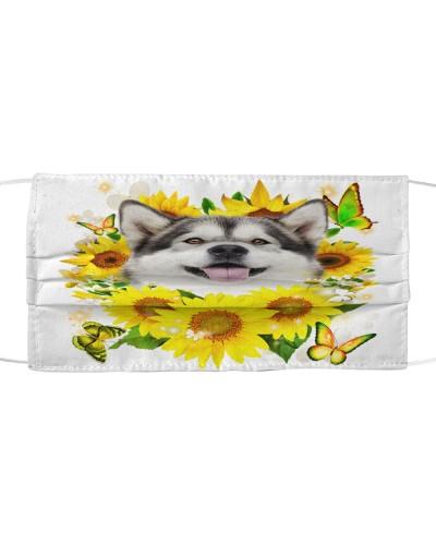 Alaskan Malamute-Face Mask-Sunflower